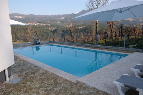 The pool of 4,5m x 9m and 1.5m depth, heated by solar collectors.